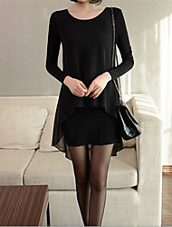 Women's Casual/Daily / Formal / Work Simple Chiffon Dress,Solid Round Neck Asymmetrical Long Sleeve Black Cotton Spring / Fall Mid Rise