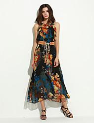 Women's Vintage / Street chic Floral Bohemian Style Slim Sheath Dress,Crew Neck Maxi