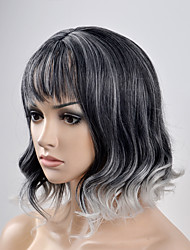 European and American women fashion pear head black and white short hair high temperature wire wig