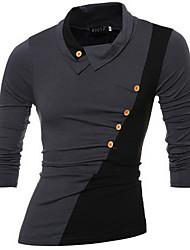 Tee-shirt Hommes,Couleur Pleine Sortie / Décontracté / Quotidien simple Automne / Hiver Manches Longues Col Roulé Marron / Gris Coton