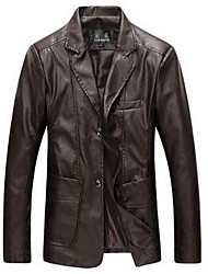 Men's Going out / Casual/Daily Simple / Active Leather Jackets,Solid Long Sleeve Black PU Medium
