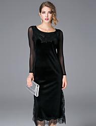 JOJO HANS Women's Casual/Daily Sexy Sheath DressSolid Strap Midi Long Sleeve Black Polyester Fall Mid Rise Inelastic Medium
