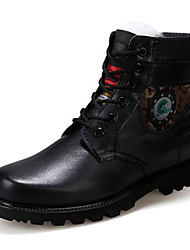 Men's Boots Fall Winter Comfort PU Casual Low Heel Lace-up Black Other