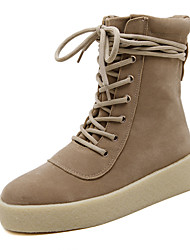 Women's Boots Winter Platform Fleece Casual Wedge Heel Black Khaki