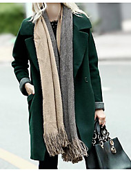 Women's Casual/Daily Simple Coat,Solid Long Sleeve Fall / Winter Green Wool Thick