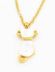 Fashion Acrylic Inlaid Kitty Cat 316L Stainless Steel Gold Plating Pendant Necklace