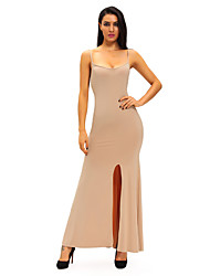 Women's Apricot Spaghetti Straps Elastic Cutout Back Maxi Dress