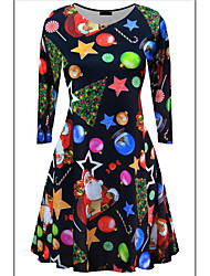 Women's Holiday Street chic Swing Dress,Camouflage Round Neck Knee-length Long Sleeve Multi-color Cotton All Seasons Mid Rise