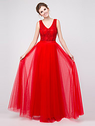Formal Evening Dress - Sexy A-line V-neck Floor-length Tulle with Appliques / Beading