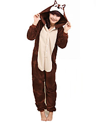 Kigurumi Pajamas Chipmunk / Mouse Leotard/Onesie Festival/Holiday Animal Sleepwear Halloween Brown Patchwork Coral fleece Kigurumi For