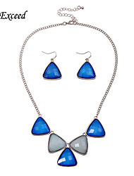 2016 Brand New Arrival Simple Fashion Blue triangle Silver Plated Alloy Acrylic Jewelry Set Earring and Necklace for Women JS140058