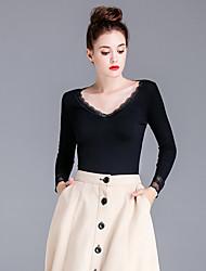 Damen Solide Einfach Lässig/Alltäglich T-shirt,Tiefes V Frühling / Herbst Langarm Schwarz Baumwolle