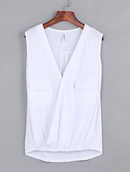 Tee-shirt Aux femmes,Couleur Pleine Plage Sexy / Bohème Sans Manches V Profond Blanc / Noir / Marron Polyester Fin