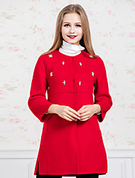GATHER BEAUTY Women's Casual/Daily Simple CoatSolid Round Neck Long Sleeve Fall / Winter Red Wool