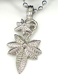 Men's Women's Couple's Stainless Steel Leaf Fashion Silver Jewelry 1pc