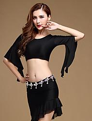 Dança do Ventre Roupa Mulheres Treino Elastano / Poliéster 2 Peças Meia manga Natural Saia / TopTop: M: 31cm, L: 32cm; Skirt: M: 40/66cm,