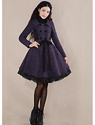 Women's Casual/Daily Simple Coat,Solid Shirt Collar Long Sleeve All Seasons Purple Wool Medium