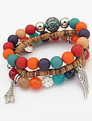Women European Style Fashion Multilayer Beaded Cute Wings Charm Bracelet