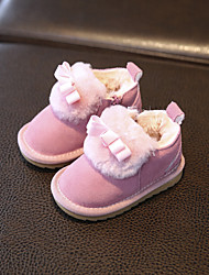 Girl's Baby Boots Comfort Cowhide Casual Pink Purple