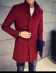 Men's Long Sleeve Long Coat , Cotton Pure