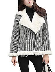 Women's Going out / Casual/Daily Street chic Jackets,Solid Peaked Lapel Long Sleeve Winter Black Faux Fur / Cotton Thick