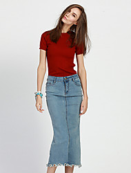 Women's Bodycon Solid Denim Skirts,Going out / Casual/Daily Sexy / Simple / Cute Mid Rise Midi Zipper Spandex Micro-elastic Spring / Fall