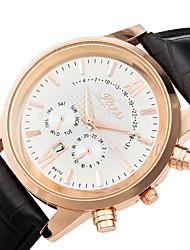 Men's Wrist watch Calendar Quartz Genuine Leather Band Cool Casual Black Brown