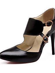 Feminino-Saltos-Sapatos com Bolsa Combinando-Salto Agulha-Preto / Vermelho / Cinza / Amêndoa-Courino-Casual / Festas & Noite