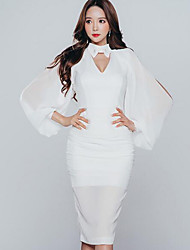 Women's Going out / Formal Simple Sheath Dress,Solid Asymmetrical Knee-length Long Sleeve White Rayon Fall High Rise Micro-elastic Medium