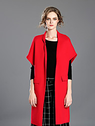 INPLUS LADY Women's Casual/Daily Simple Fur CoatSolid Sleeveless Winter Red / Green Rayon / Acrylic / Polyester Thick