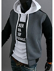 Men's Casual/Daily Vintage / Simple Jackets,Color Block Long Sleeve White / Gray Cotton
