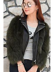 Feminino Jaquetas de Couro Casual Simples Outono / Inverno,Sólido Preto / Verde Poliéster Colarinho de Camisa-Manga Longa
