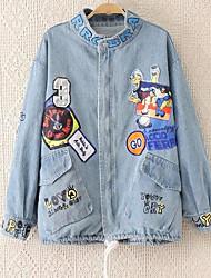 Feminino Jaquetas Jeans Casual Simples Outono,Estampado Azul Algodão Colarinho Chinês-Manga Longa Média