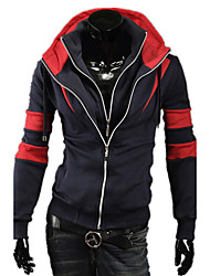The New Men 'S Fashion Fight Color Double Zipper Korean Men' S Slim Hooded Sweater