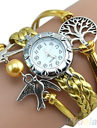 New Watches for Women Vintage Life Tree Birds Charm Leather Bracelet Style Wrist Watch