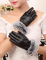 Women's PU Rabbit Fur Wrist Length Fingertips Add Wool Upset Cute/ Party/ Casual  Winter Fashion Warm Gloves