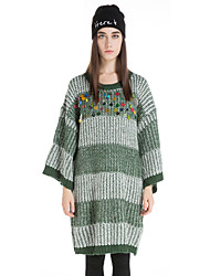 SIKYA Women's Casual/Daily Vintage Shift / Sweater DressSolid Round Neck Above Knee Long Sleeve Red / Green Wool Winter High Rise Micro-elastic