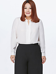 MsShe  Women's Casual / Plus Size / Work Solid / Cute Spring / Autumn BlouseSolid V Neck Long Sleeve Blue / Pink / White / Black Polyester Thin
