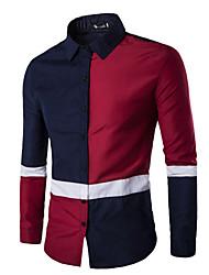 Chemise Hommes,Couleur Pleine Habillées / Travail simple / Chinoiserie Printemps Manches Longues Col Officier Bleu / Rouge / Noir Coton