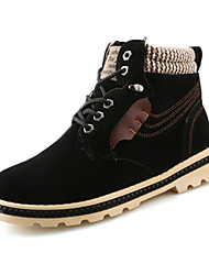 Men's Boots Fall Winter Comfort PU Casual Low Heel Lace-up Black Blue Yellow