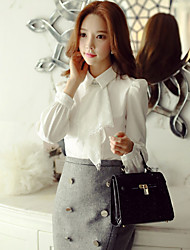 Women's Casual/Daily / Formal / Work Simple / Street chic / Sophisticated Spring / Fall Shirt,Solid Shirt Collar Long Sleeve White