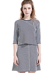 Women's Casual/Daily Simple Skirt Suits,Striped Round Neck ½ Length Sleeve Blue Silk