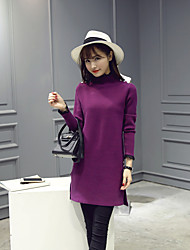 Women's Casual/Daily Simple Sweater Dress,Solid Turtleneck Above Knee Long Sleeve Pink / Gray / Purple Cotton Fall Mid Rise Stretchy