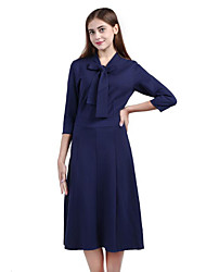 Mujer Vaina Vestido Tallas Grandes Sofisticado,Un Color Cuello Alto Midi 3/4 Manga Azul / Negro / Gris Algodón / Poliéster OtoñoTiro