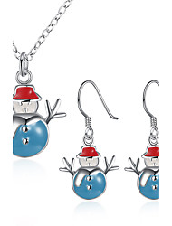 Women's Jewelry Set Necklace/Earrings  Snowman Christmas/Birthday/Party/Daily/Casual  Fashion Enamel Process/Silver Plated  Red/Blue/Yellow 1Set Gift