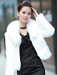 Women's Casual/Daily Simple Fur Coat,Solid Long Sleeve White / Beige / Black Special Leather Types