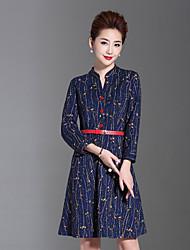 Feminino Evasê Vestido,Casual / Tamanhos Grandes Temática Asiática Floral Colarinho Chinês Acima do Joelho Manga Longa Azul Outros Outono