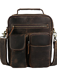 Men Bags All Seasons Cowhide Shoulder Bag with Metallic for Casual Outdoor Brown