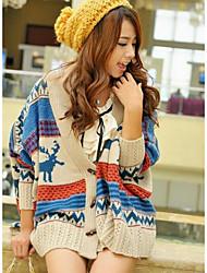 Damen Standard Pullover-Ausgehen Lässig/Alltäglich Einfach Tierfell-Druck Blau Lila Rundhalsausschnitt Langarm Baumwolle Frühling Herbst