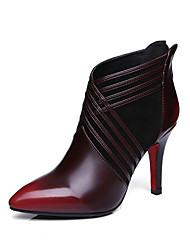 Women's Boots Spring Fall Winter Comfort Leather Office & Career Casual Party & Evening Stiletto Heel Zipper Split Joint Green Burgundy